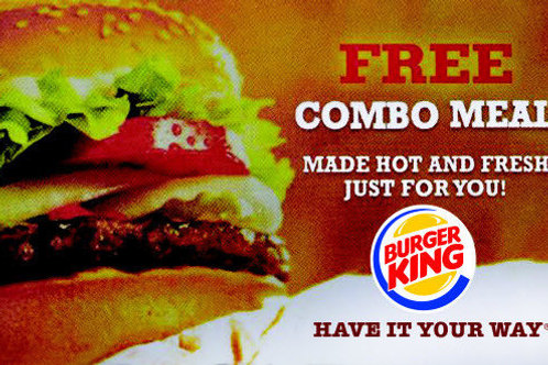10 Burger King Free Combo Voucher Meals Cheap New Restaurant Fast Food Gifts