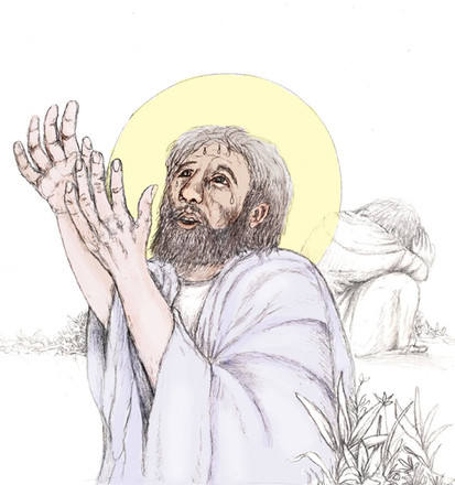 Station 1: Jesus prays alone.