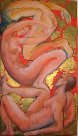 tre figure su rosso e oro