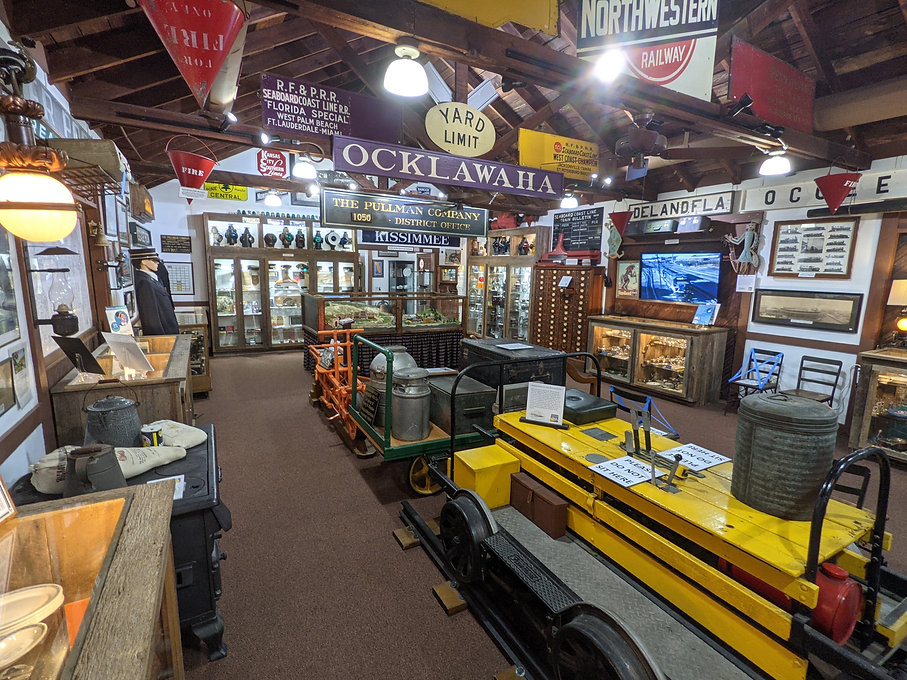 Main exhibit gallery at the Central Florida Railroad Museum
