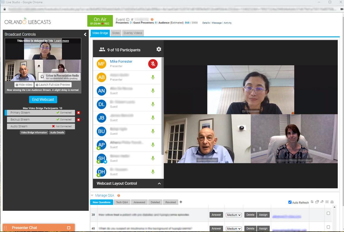 Video bridge to connect presenters