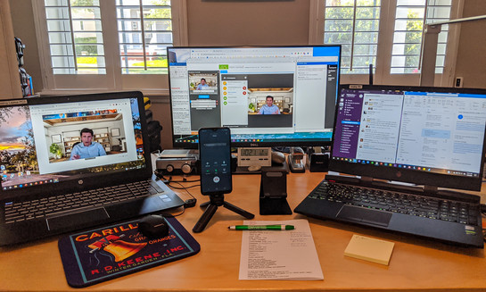 Home office setup for remote producing of webinars.