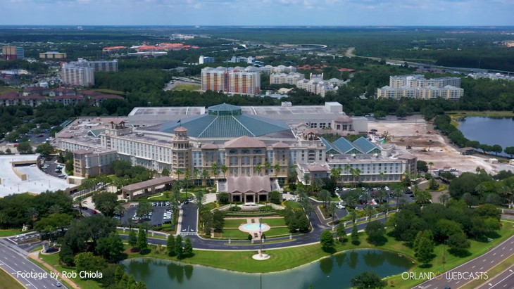 Aerial footage of Gaylord Palms Resort
