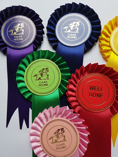 10x Clear Round/Well Done Rosettes