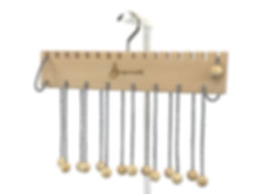 Beech hanger with black candy stripe cords