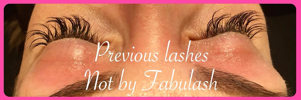 poorly applied volume lash extensions