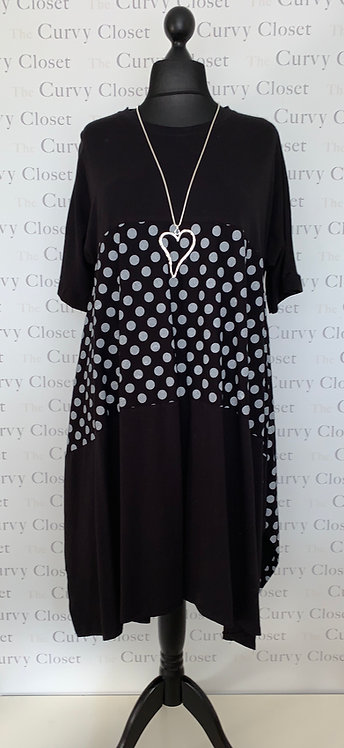 ITALIAN CONTRAST POLKA DOT PANEL LAGENLOOK DRESS