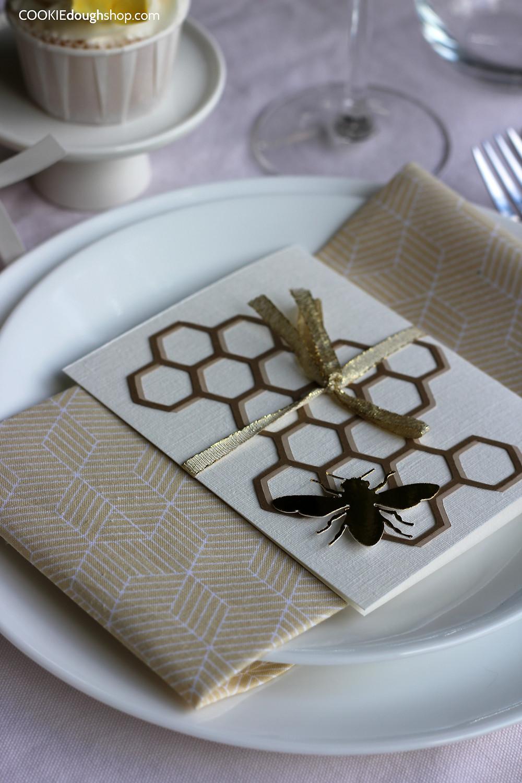 "Each guest received an individual DIY ""Shana Tova"" greeting card"