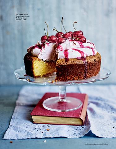 Elderflower Lemon Cherry Cream Cake