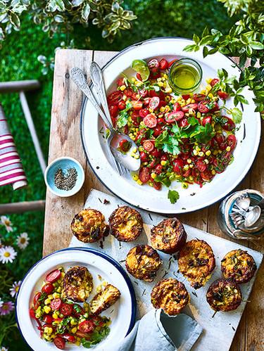 Tomato Salad and Muffins