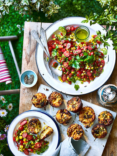 Tomato Salad and Muffins