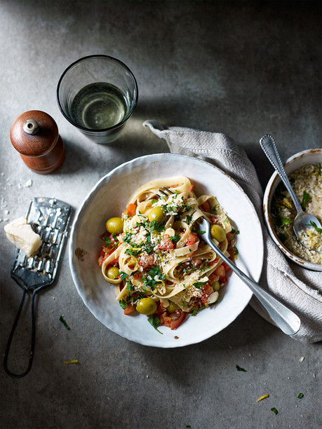 Tagliatelle with Anchovies Olives and Pangratto