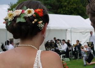 The bride enjoying the music