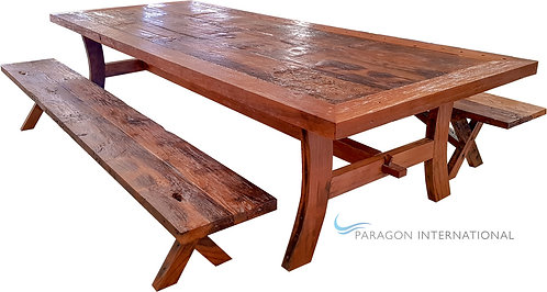 Recycled Table Teak & 2 Benches