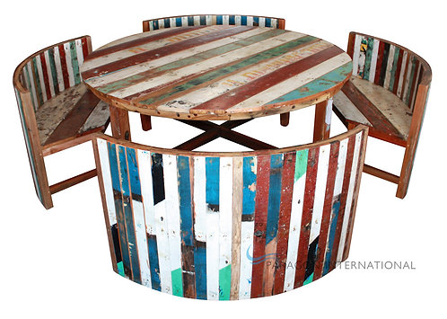 Boatwood Table & Bench Set
