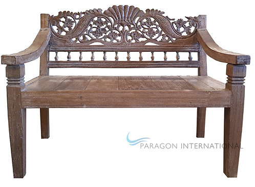 Recycled Timber Carved Bench