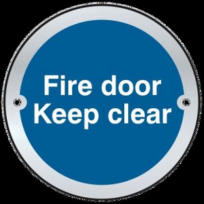 ASEC `Fire door Keep clear` Sign 75mm - Satin Anodised Aluminium