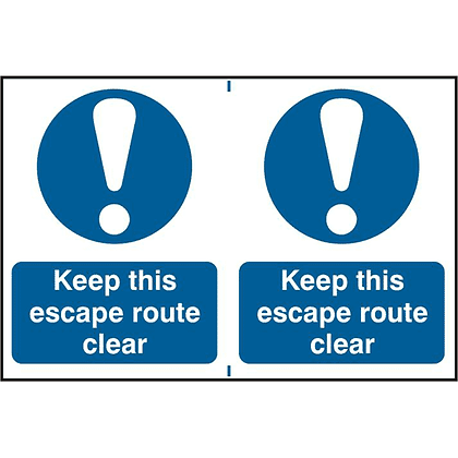 ASEC `Keep This Escape Route Clear` PVC Self Adhesive Sign - 2 Per Sheet