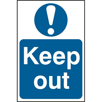 ASEC `Keep Out` 200mm x 300mm PVC Self Adhesive Sign