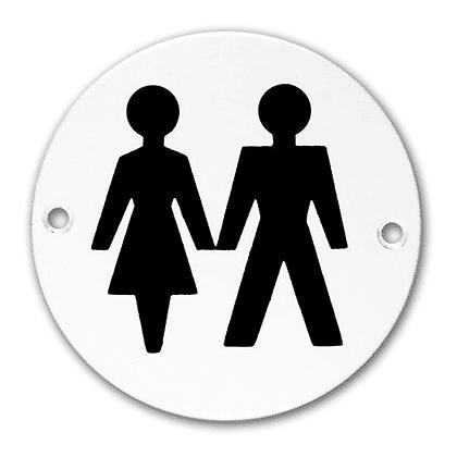 ASEC Aluminium Metal Toilet Door Sign - 76mm SAA `Unisex`