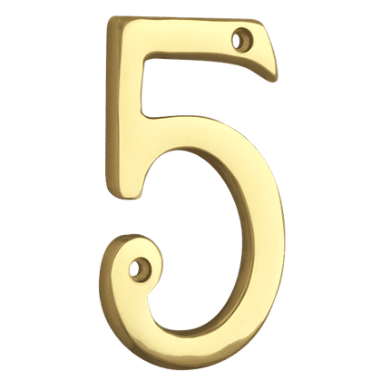 ASEC Metal Numerals - 76mm Polished Brass `5` (Visi)