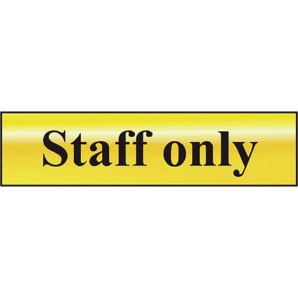 ASEC `Staff Only` 200mm x 50mm Gold Self Adhesive Sign
