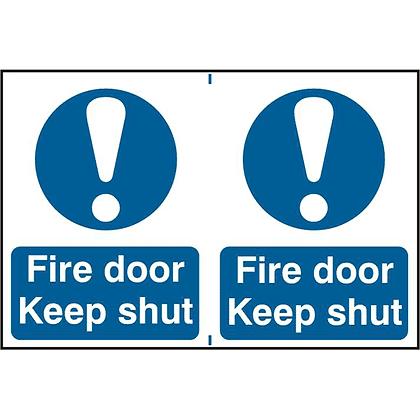 ASEC `Fire Door Keep Shut` 200mm x 300mm PVC Self Adhesive Sign - 2 Per Sheet