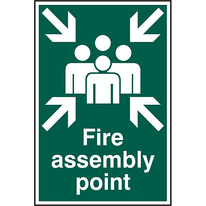ASEC `Fire Assembly Point 200mm x 300mm PVC Self Adhesive Sign