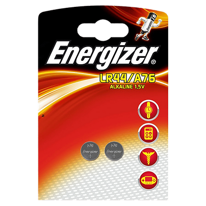 ENERGIZER 150MAH LR44 A76 Lithium Coin Battery Cell Twin Pack - 150MAH