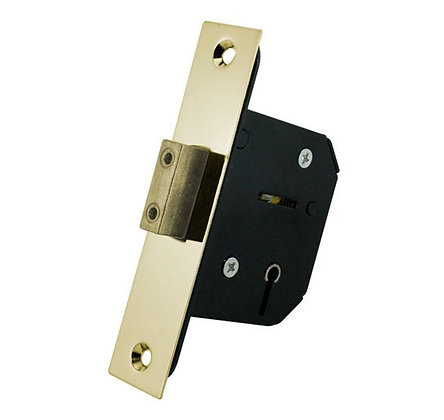 Maxus 5 Lever Mortice Deadlock - Polished Brass Finish