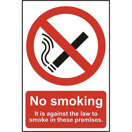 ASEC `No Smoking` 200mm x 300mm PVC Self Adhesive Sign - Option 2