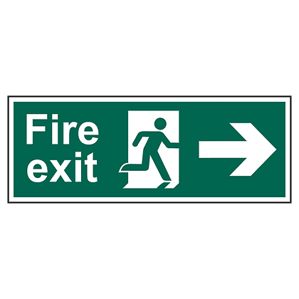 ASEC Fire Exit Arrow Direction Sign 400mm x 150mm - Right