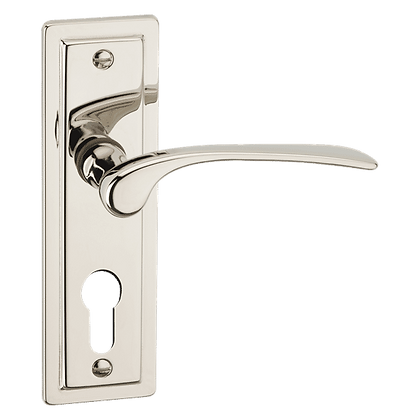 ASEC URBAN New York Euro Lever on Plate Door Furniture - Polished Nickel