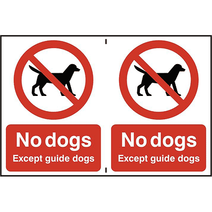 ASEC `No Dogs` 200mm x 300mm PVC Self Adhesive Sign - 2 Per Sheet