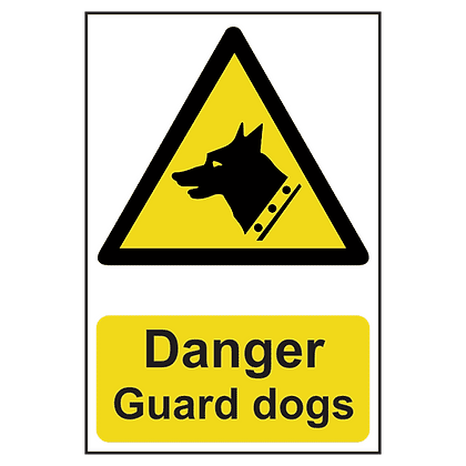 ASEC `Danger: Guard Dogs` Sign 200mm x 300mm