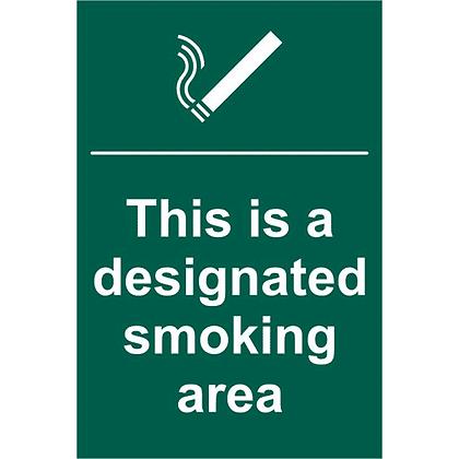 ASEC Designated Smoking Area 200mm x 300mm PVC Self Adhesive Sign