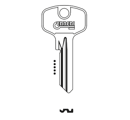 DOM DM5DN Errebi Cylinder Key Blank (D64 / DOM-2D / DM14 / DO11 / DO21 / 15C) JMA SILCA HD