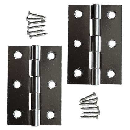 ASEC 75mm Button Tip Butt Hinges - Polished Chrome