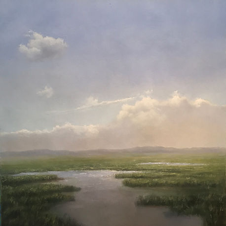 Sparlkling light on New England marshes, oil painting