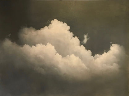 Large, monochromatic black and white painting of clouds, Materese Roche, artist