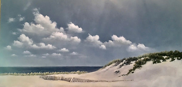New england sand dunes, beach oil painting
