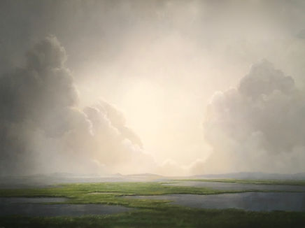 Large atmospheric cloud landscape oil painting