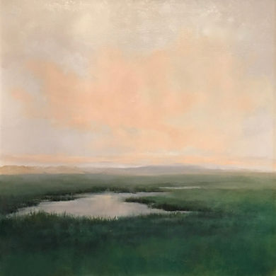 Marsh Light in Barstable, MA,  Materese Roche, Oil painting of Marshes in New Englad