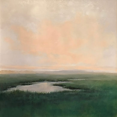 Misty marshes Cape Cod original oil painting