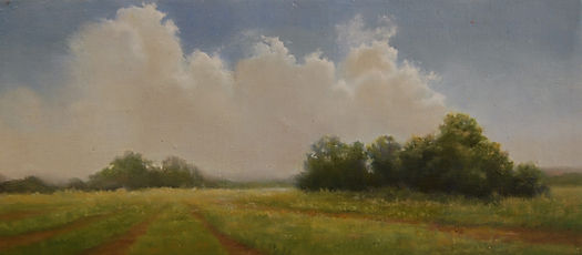 Backlit Clouds atmospheric landscape oil painting