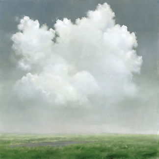 Oil Painting of Cumulus Cloud over a soft green field,