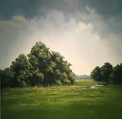 Oil Painting, trees and white clouds in summer by Materse Roche artist