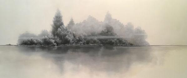 monochromatic landscape painting atmospheric