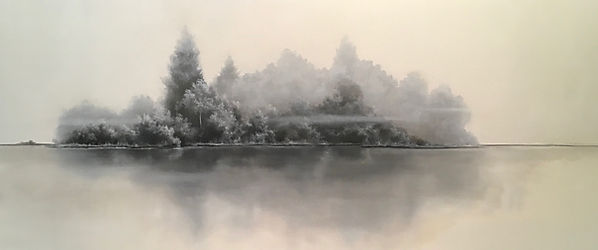black and white landscape oil painting
