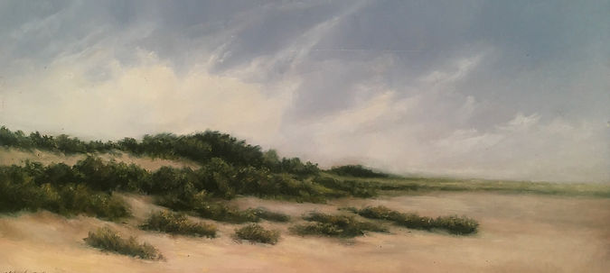 Materese Roche, Study For Cape Cod Dunes on a Windy Day, Oil on Panel